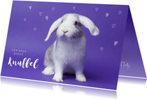 Kinderkaart - Knuffel konijntje paars