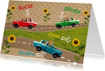 Kinderkaart retro auto's kleuren