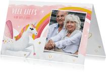 Kinderkaart zomaar met foto - groetjes van opa en oma
