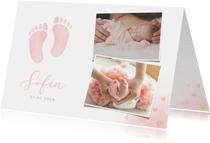 Klassiek geboortekaartje meisje - waterverf voetjes en foto