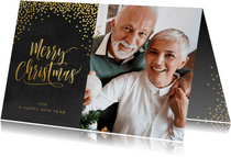 Klassieke foto kerstkaart confetti goud op zwart