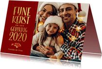 Klassieke rode kerstkaart met foto 2020