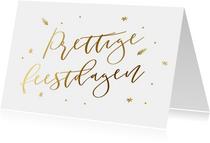 Klassieke witte kerstkaart met goudlook kerstwens
