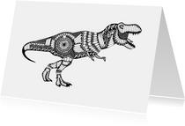 Kleurplaat kaarten - Kleurplaatkaart Dino