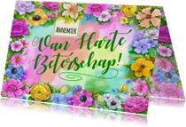 Kleurrijke beterschapskaart met diverse bloemen