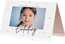 Kommunionskarte Einladung Foto & Herzen