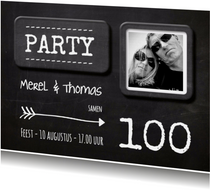 Uitnodiging Krijtbord hip 100 aanpasbaar