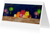 Kunstkaart Katten uit China - Sonja Kemp