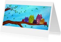 Kunstkaart Nestkatten Lente