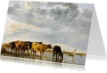 Kunstkaart van Aelbert Cuyp. Koeien in een rivier