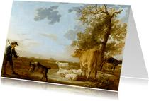 Kunstkaart van Aelbert Cuyp. Landschap met vee
