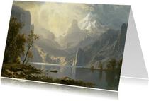 Kunstkaart van Albert Bierstadt. Meer in de bergen