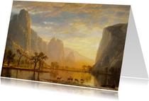 Kunstkaart van Albert Bierstadt. Vallei bij zonsondergang