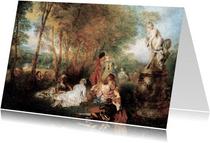 Kunstkaart van Antoine Watteau. Feest