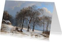 Kunstkaart van Barend Cornelis Koekkoek. Winterlandschap
