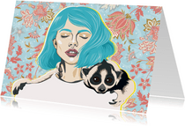 Kunstkaart van een vrouw met loris om haar hals
