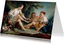 Kunstkaart van Francois Boucher. Diana na de jacht