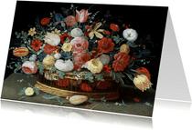Kunstkaart van Jan van Kessel. Rozen, tulpen, irissen