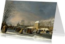 Kunstkaart van Nicolaas Baur. Schaatswedstrijd voor vrouwen