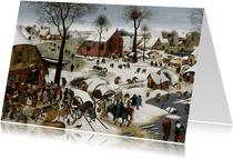Kunstkaart van Pieter Breughel. De volkstelling te Bethlehem