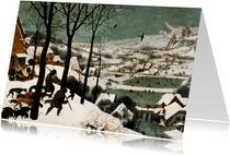 Kunstkaart van Pieter Bruegel de Oude. Jagers in de sneeuw