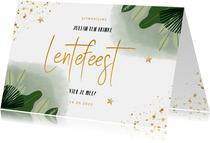 Lentefeest uitnodiging met planten waterverf en goudlook