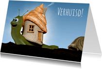 Leuk slakje met nieuw huis verhuiskaart