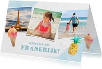 Leuke frisse vakantiekaart met zeesfeer, foto's en ijsje