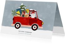 Leuke kerst verhuiskaart met verhuisauto en kerstman