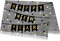 Leuke nieuwjaarskaart met vlaggen, tekst en confetti