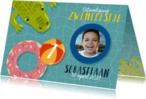 Leuke uitnodiging kinderfeestje met zwembanden en krokodil