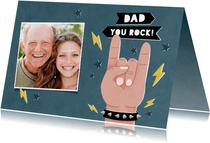 Leuke vaderdag kaart Dad you rock met sterren en eigen foto