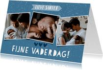 Leuke vaderdagkaart met fotocollage, typografie en spikkels