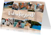 Leuke vakantiekaart met fotocollage, zand en typografie
