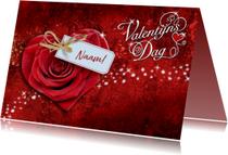 Leuke valentijnskaart met hart en labeltje met naam
