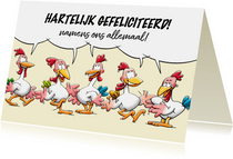 Leuke verjaardagskaart, 5 kippen vieren samen een feestje