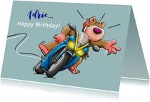 Leuke verjaardagskaart felicitatie met beertje op motor