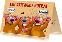 Leuke verjaardagskaart met 3 grappige beren