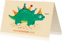 Leuke verjaardagskaart met dino en feesthoedjes