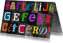 Leuke verjaardagskaart met gekleurde letters