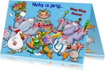 Leuke verjaardagskaart met grappige juichende dieren