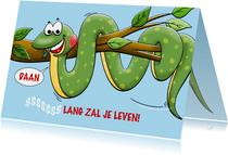 Leuke verjaardagskaart met lange sissende slang