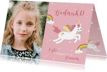 Lief bedankkaartje eerste communie eenhoorns en regenbogen