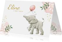 Lief botanisch geboortekaartje met olifantje in aquarel