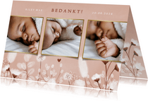 Lief geboorte bedankkaartje met foto's en droogbloemen