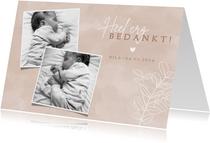 Lief geboorte bedankkaartje met foto's en eucalyptus