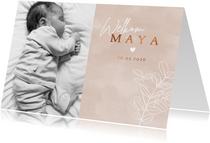 Lief geboortekaartje met foto eucalyptus waterverf en hartje