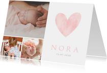 Lief geboortekaartje met roze waterverf hart en eigen foto's