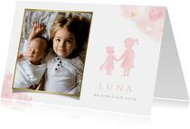Lief geboortekaartje met silhouet 2 zusjes en eigen foto