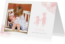 Lief geboortekaartje met silhouet broer en zusje en foto